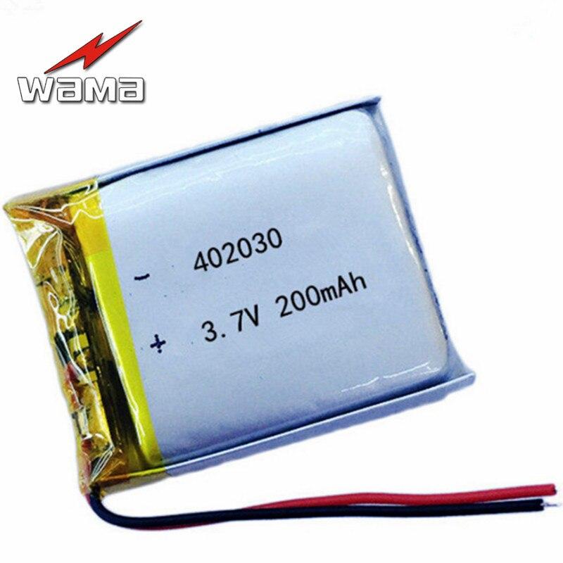 8 pçs/lote Baterias Li-bateria de Polímero de 402030 200 mAh 3.7 V Recarregável Para Bluetooth