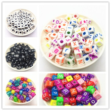 20pcs 10x10mm Mixed Square Alphabet Letter Beads Charms Bracelet Necklace For Jewelry Making DIY Accessories
