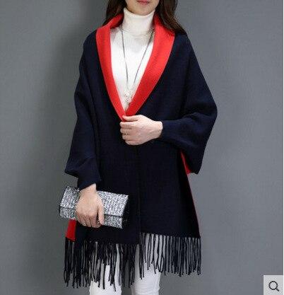 SC2 большой шарф Зимний вязаный пончо женский однотонный дизайнерский плащ женский длинный рукав летучая мышь пальто винтажная шаль - Цвет: Navy Blue With Red