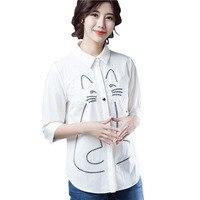 White Blouse Shirt 2018 Spring Summer Fashion Half Sleeve Women Cotton Blouse Creative Kitten Cat Pattern Shirt Tops