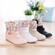 Lady big size(4- 12)printing cloth mesh round toe Height increasing ankle boot fashion bow boots women shoes summer style girls