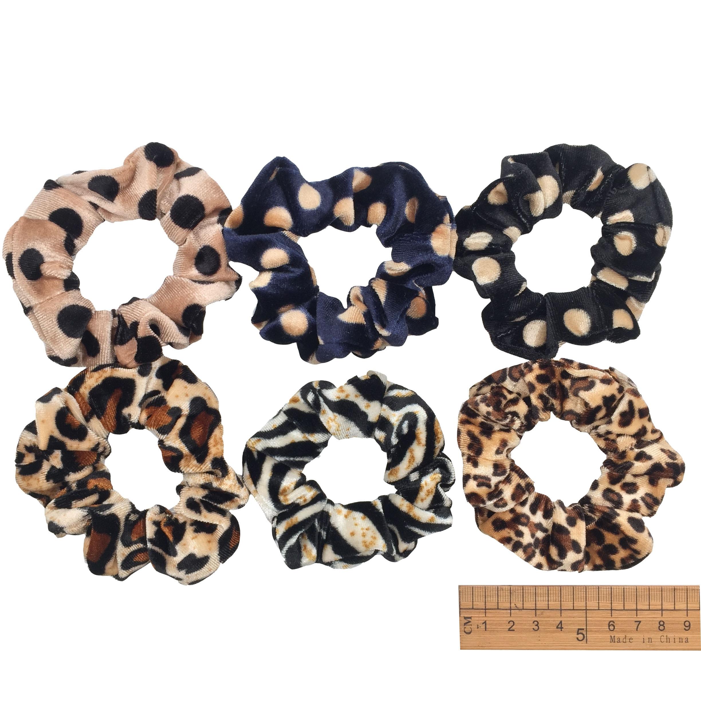 6 шт/лот Бархатные эластичные резинки для волос, резинки для волос для девочек, не складываются, леопардовые женские большие мелкие блестки из шифона с цветочным рисунком - Цвет: PJ022-6PCS