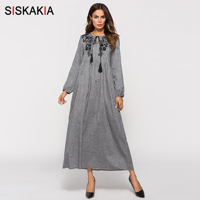 Siskakia Autumn Fall 2018 Women Dress Floral Embroidery High Waist Swing Maxi Dresses Long Sleeve Round Neck Tassel Drawstring
