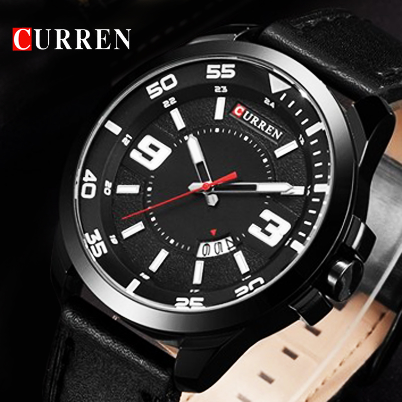 CURREN Top Brand Luxury Relogio Masculino Date Leather Casual Watches Men Sports Watches Quartz Military Wrist Watch Male Clock fashion o t sea brand faux leather blue ray glass watch men military sports quartz wrist watches relogio masculino w045