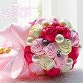 Crystal Brooch Wedding Bouquet Fabric Artificial Rose Durable Wedding Flower Bridesmaid Hand Flower D169