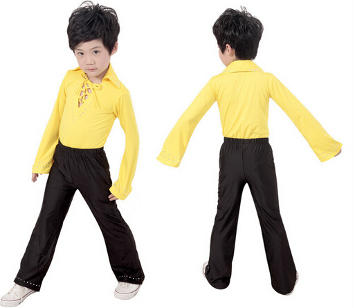 eef2ebb99a1066 Free Shipping 3 Styles Yellow Black Lace Boy Latin Dance Clothes / Ballroom  Modern Latin Boys Dance Costume