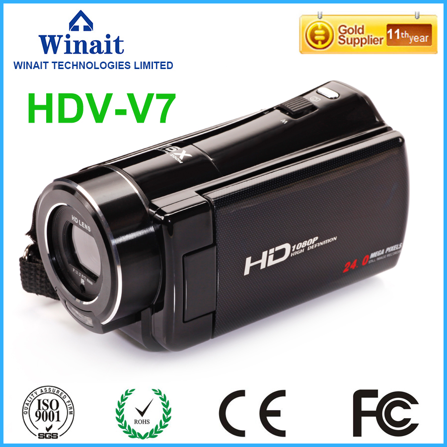 Chinese high quality digital video camera HDV-V7 FHD 1080P portable foto camera built-in LED/microphone/speaker pro camcorder