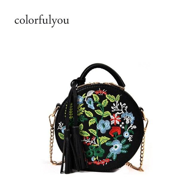 Женская Ретро Вышивка Цветы Сумочка Искусственная кожа кисточка сумка на  плечо для женщин вечерняя круглая сумка 24dd22bcbbefb