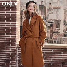 ONLY womens' winter new wool long coat with woolen coat Side pocke Tie-up belt 11834S529