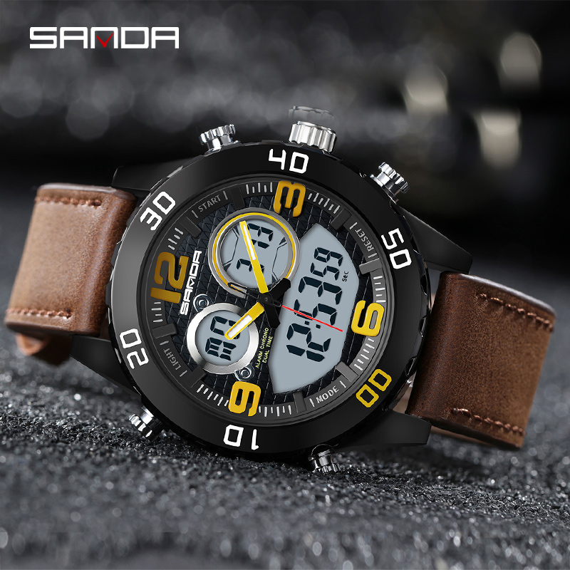 цены SANDA Mens Watches Top Brand Luxury Date Quartz Watch Man Leather Sport Wrist Watch Men Waterproof Clock horloges mannen New