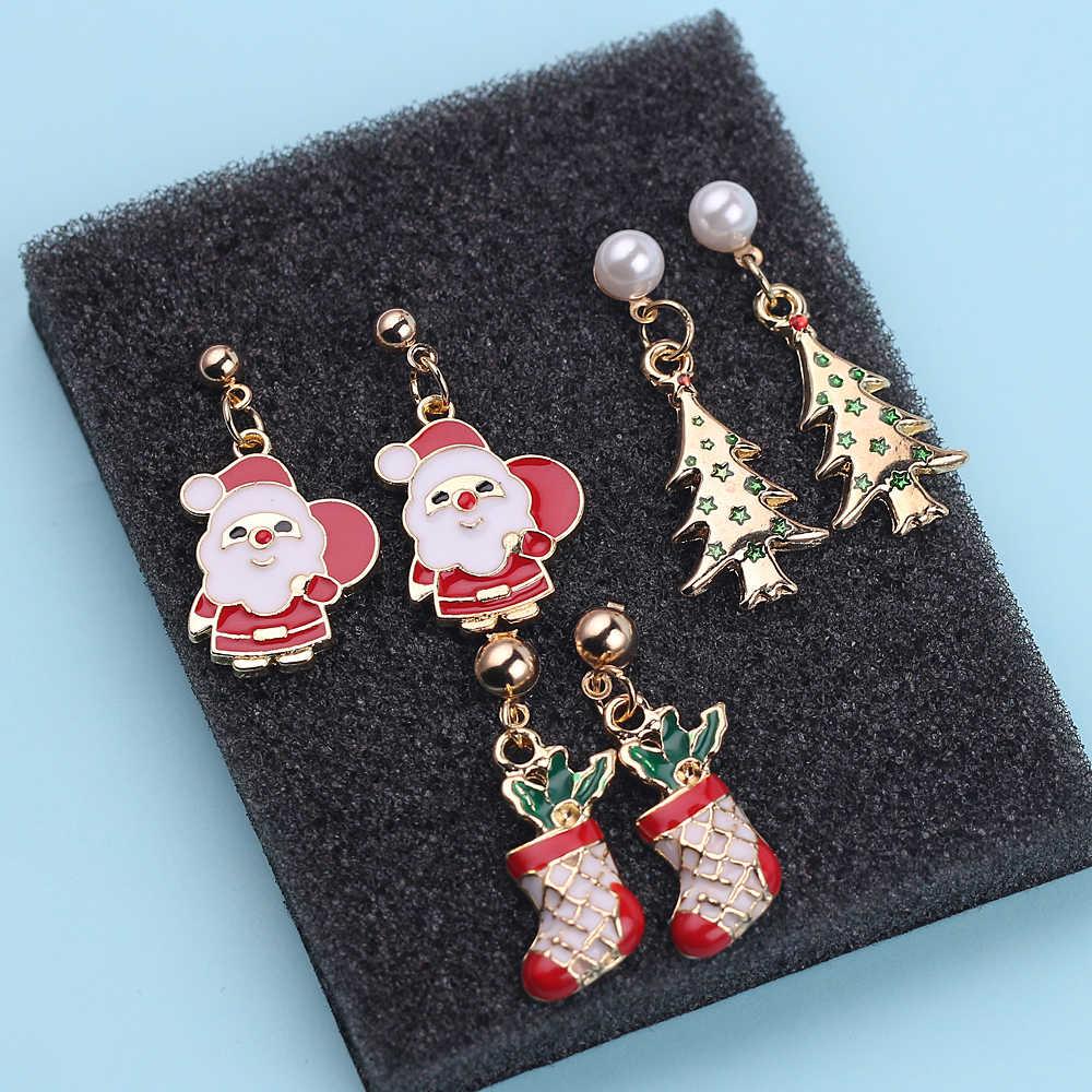 Санта Клаус рождественские серьги снеговик декоративный колокольчик с оленями Рождественская елка Ухо Ювелирные изделия аксессуары прекрасные рождественские подарки для женщин девочек