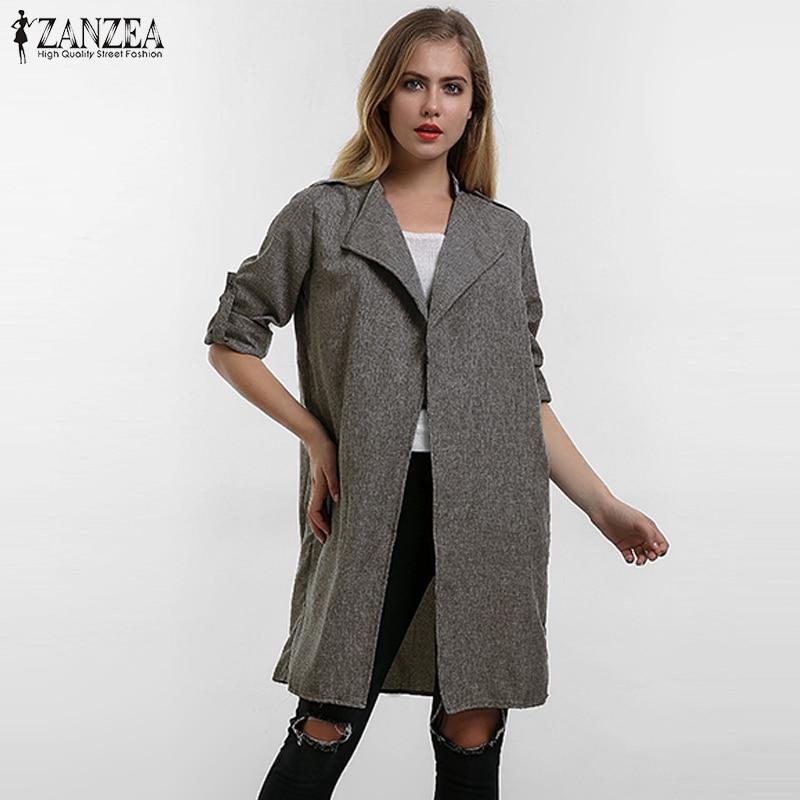 2018 Spring Autumn ZANZEA Women Slim Fashion Casual Lapel Windbreaker Cape Coat European Linen Cardigan Jacket Plus Size