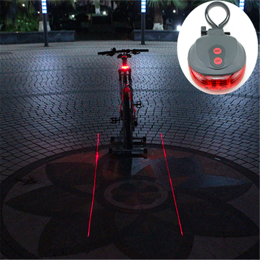 Red Light 5 Led 2 Laser Cycling Safety Light Waterproof Bicycle Taillight 7 Mode Safety Rear Lamp Laser Warning Flashing Lamp