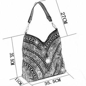 Image 3 - 2020 Luxury Fashion Diamond Bag Women Handbag Leather Female Large Capacity Shoulder Bag Messenger Bag Mujer Rhinestone Ladies