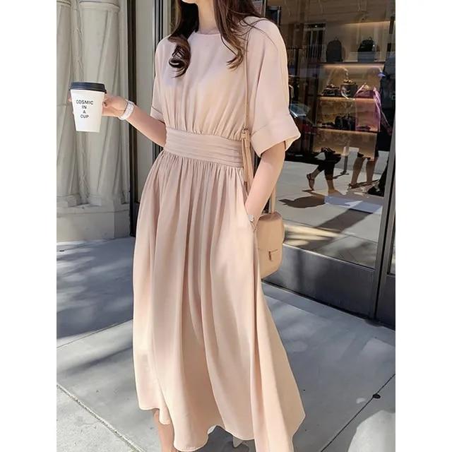 Women Summer Short Sleeve Plain Cotton Dress A Line High Waist Causal Japan Fashion Chic Simple O Neck Korean Style Midi Dresses