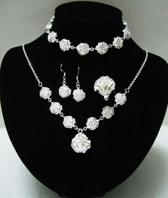 b09bcd1d8471 Free shipping wholesale price fashion silver Rose jewelry sets for women  fashion silver jewelry Hot selling