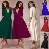 Elegant Dress Winter Princess Dress Women High end European Sexy Deep V Half Sleeve Dress Long Section Evening Vestidos 1SA34