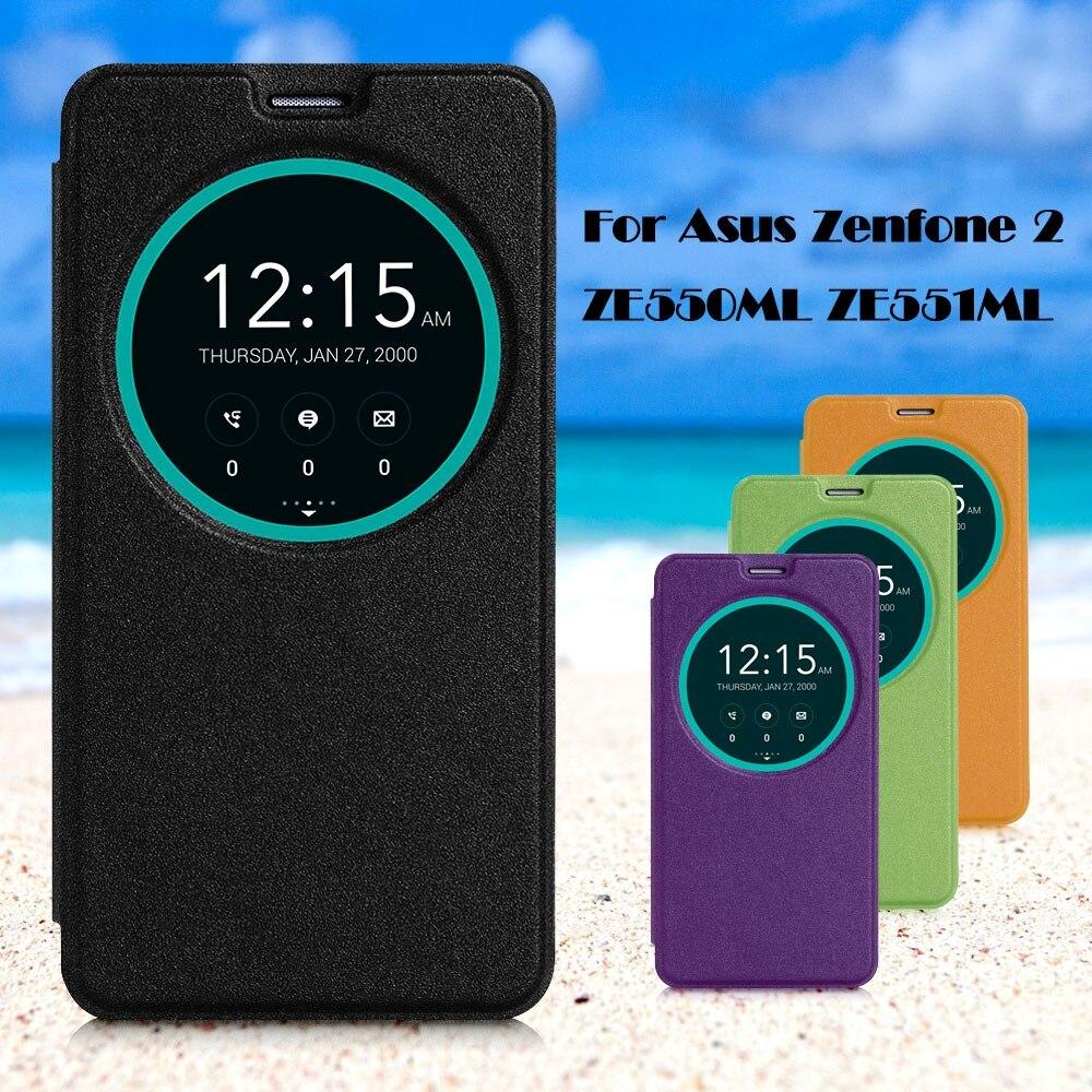 עבור Asus Zenfone 2 ZE550ML ZE551ML תיק עור כיסוי חכם חלון תצוגה נרתיק עור עבור Asus Zenfone 2 ZE550ML ZE551ML 5.5 אינץ'