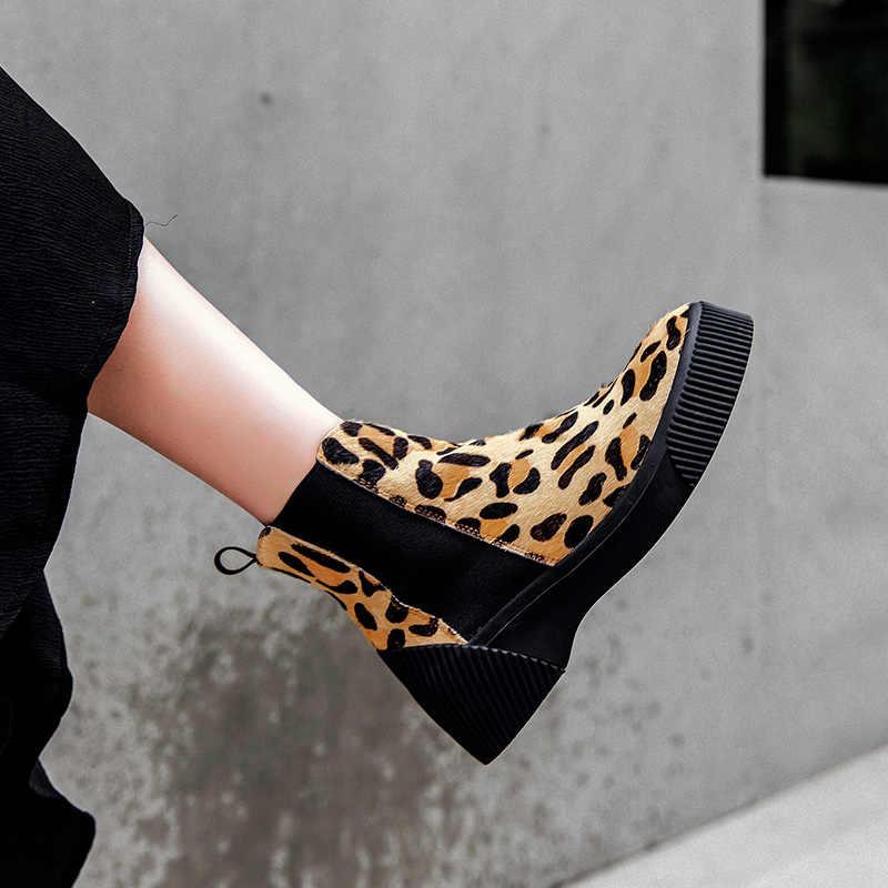 Donna-Hayvan Baskılar Gerçek Kürk Hakiki Deri yarım çizmeler Kadın 2019 Moda platform ayakkabılar Daireler Kayma lastik çizmeler Kadın