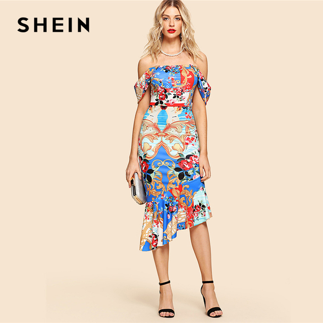 f1695ba78d67 SHEIN Multicolor Elegant Party Ornate Print Asymmetrical Ruffle Hem Bardot  Off the Shoulder Dress Summer Women Going Out Dresses
