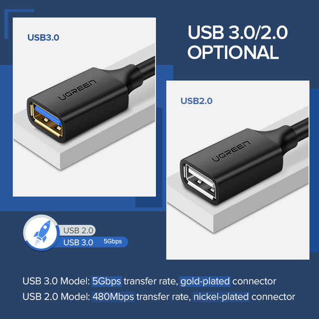 Ugreen USB Extension Cable USB 3.0 Cable for Smart TV PS4 Xbox One SSD USB3.0 2.0 to Extender Data Cord Mini USB Extension Cable 5