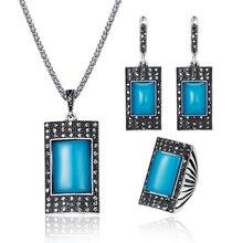 Винтажный классический этнический стиль, ювелирный набор, модный прямоугольный камень из смолы, турецкое ожерелье, серьги, кольцо, женский ювелирный набор 20