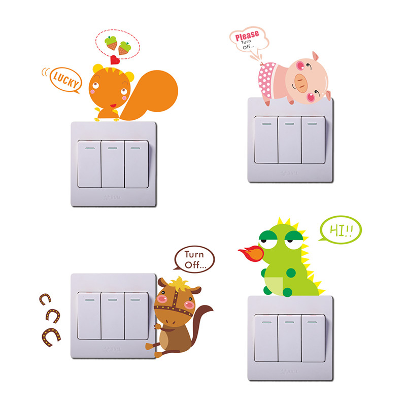 10 designs Lovely Animals Dark Light Switch Sticker Children Room Home Decor Nursery Room Decoration Bedoom Kids Room Decor