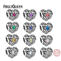 FirstQueen 2016 Best Selling 100% 925 Sterling Silver Beads January-December Signature Heart Birthstone Charms DIY Fine Jewelry