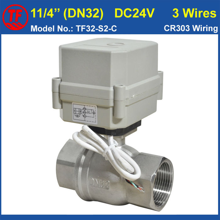 1-1/4 DC24V 3 wires motorized water valve SS304 for water treatment drinking water systems 1 4 dc12v electric motor valve 2way dn8 motorized valve 5 wires cr501 with indicator and manual override