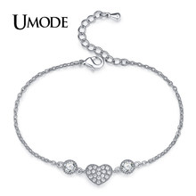 UMODE Fashion Charm Large CZ Crystal Heart Love Ladies Bracelets for Women Chain Link Bracelet Femme Patrulha Canina AUB0119B(China)