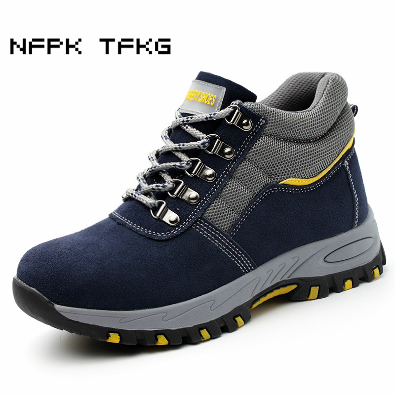 mens large size steel toe caps work safety shoes cow suede leather spring autumn winter warm fur snow ankle security boots blue