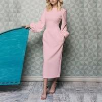 Spring Lantern Long Sleeve Dress for Women Solid Elegant O Neck Office Lady Long Dresses Summer Women Dresses Vestidos 2019