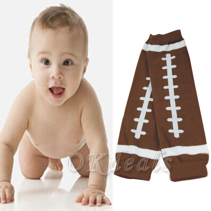 1 Pair Winter American Football Baby Kids Child Arm Leg Warmers Cotton Toddler Boys Girls Legging Brown #10