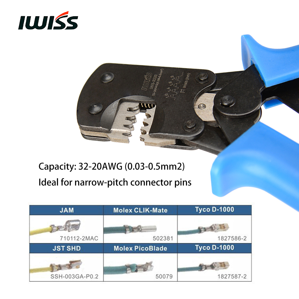 IWISS IWS-3220 Ratchet Crimping Plier Hand Crimper Tools for Narrow-pitch Connector Pins Crimp Range 0.03-0.5mm2 (AWG: 32-20) iws 3220
