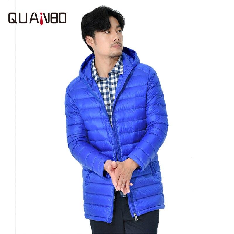QUANBO hommes nouveau léger doudoune 2019 automne hiver coréen Slim Fit à capuche longue jeunesse Ultra-mince manteau grande taille S-8XL