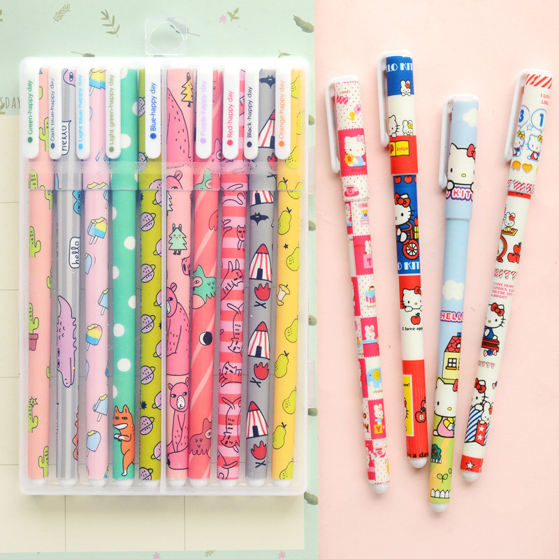 10pcs Colour gel pens box pack Cute animal Star Hello Kitty Sweet Cartoon pen Stationery Office accessories school supplies 6 pcs set color gel pen starry pattern cute kitty hero roller ball pens stationery office school supplies