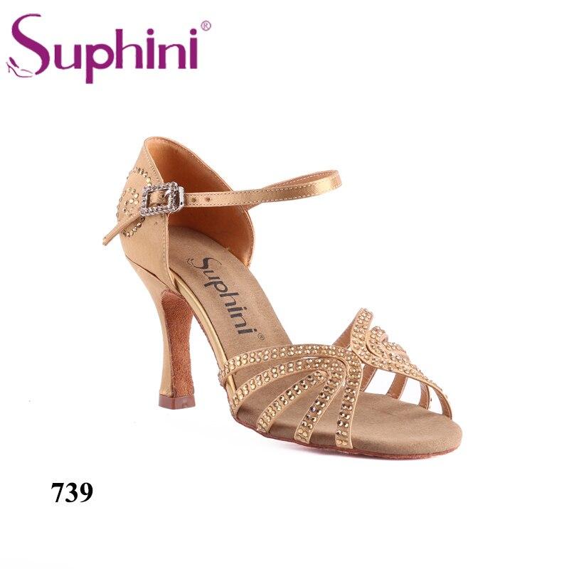 Offre spéciale fête des mères livraison gratuite cristal jaune chaussures de danse latine Suphini 739 Tan femme chaussures de danse