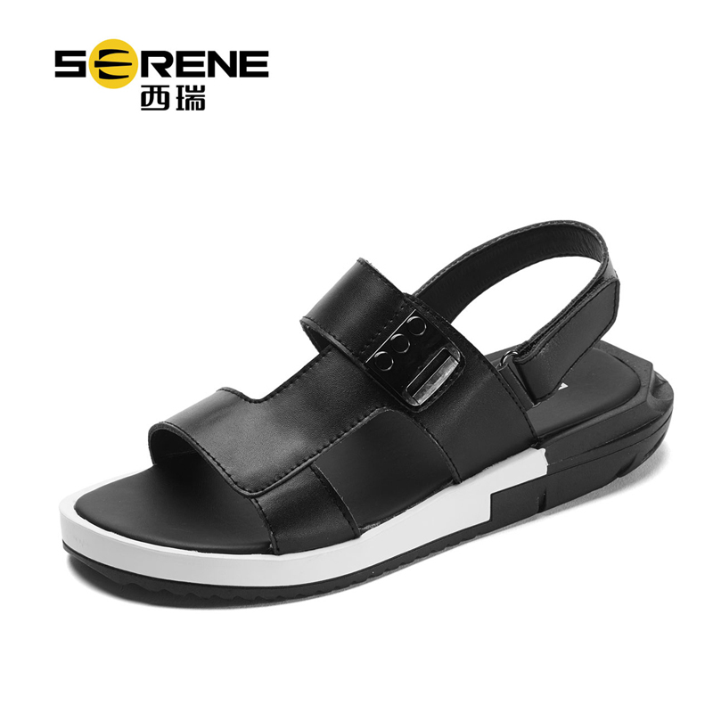 Men Beach Sandals 2018 Summer New Fashion Split Leather Footwear Breathable Soft Casual Sandals Anti-slip Black Shoes For Men