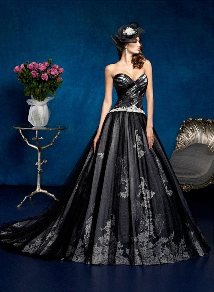 Mansa Ball Gown Wedding Dress 2017 White Black Beaded
