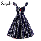 Save 23.2 on Sisjuly vintage dress women 1950s spring elegant dots button butterfly sleeve party dress summer v neck women vintage dresses