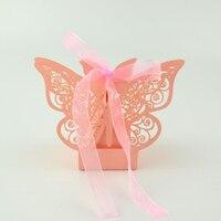 50 шт./компл. полые бабочка Бумага коробка конфет Свадебные украшения свадебной подарочной коробке Chocolate Cake Box гостей вечерние поставки
