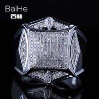 BAIHE Стерлинговое Серебро 925 0.6CT Сертифицированный H/I круглый огранки из натуральных бриллиантов свадебные мужские модные ювелирные изделия