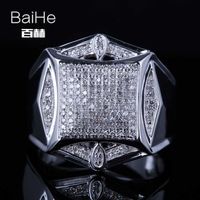 BAIHE Sterling Silver 925 0.6CT Certified H/I Round Cut Genuine Natural Diamonds Wedding Men Trendy Fine Jewelry Ring