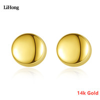 Round Earrings In 14k Gold Are Suitable For Sending Female Girls Jewelry Gifts