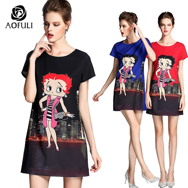 1b2be28ba0f S - 5XL Brand Fashion Plus Size Women Hongkong Carton Print Texture Loose  Casual Dresses New