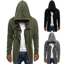 Men Hooded Sweatshirts New Hip Hop Mantle Hoodies Jacket Long Sleeve Black Cloak Male Coat Outwear Irregular hem Hoodeds