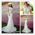 Fashion 2017 Mermaid Lace Wedding Dress High Neck With Lace Appliques and Pearls Tulle Wedding Bridal Gowns Floor Length DD42