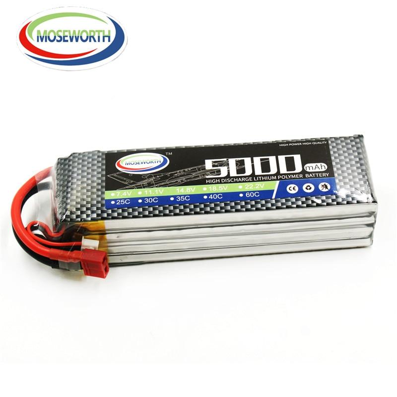 MOSEWORTH RC Airplane LiPo Battery 4S 14.8v 5000mAh 30C Li-Polymer Batteries for RC Car Drone Toys Batteria Free Shipping