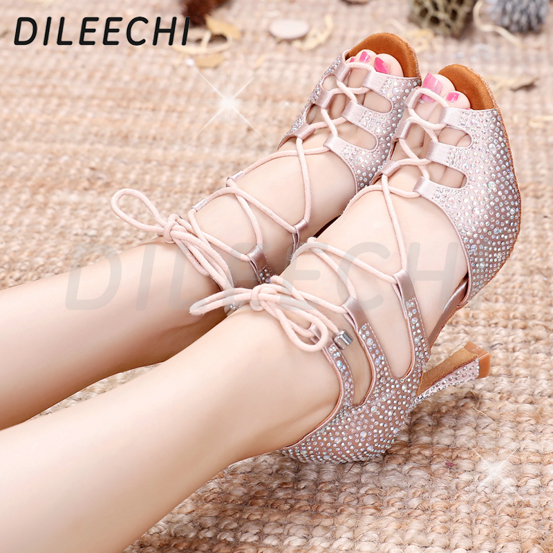 Image 5 - DILEECHI Women Latin Dance Shoes Skin Satin Shining Big small rhinestone dancing shoes Flare heel 9cm Narrow foot Adjust width-in Dance shoes from Sports & Entertainment