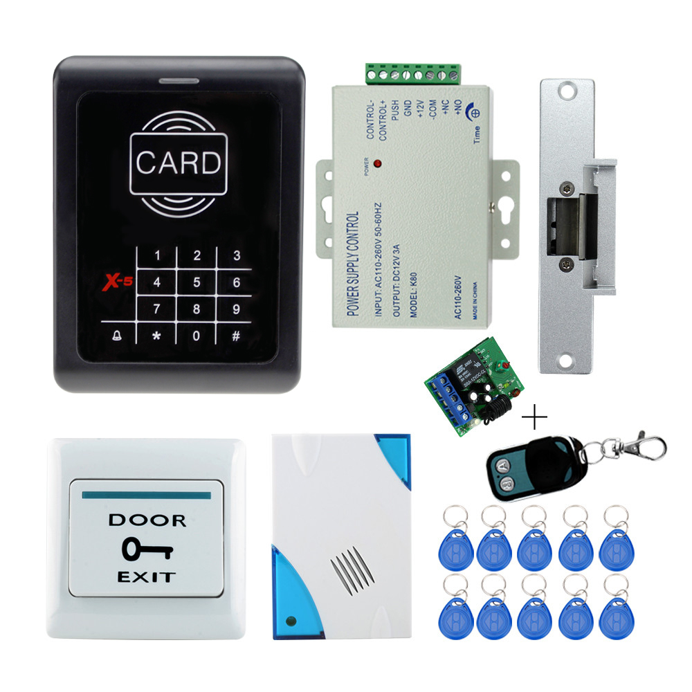RFID door access control system kit set with electric lock +power supply+doorbell+door exit button+10 keys+ID card reader keypad outdoor mf 13 56mhz weigand 26 door access control rfid card reader with two led lights